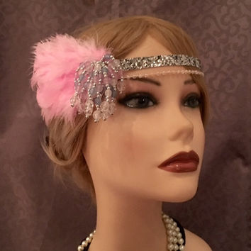 Pink Silver Flapper Headband Gatsby 1920's Headpiece Sparkly Pastel Beaded Tassel Headdress Head Piece Band Art Deco Glitter 20s Satin (717)