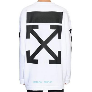 OFF-WHITE autumn and winter new arrow striped crewneck sweater White