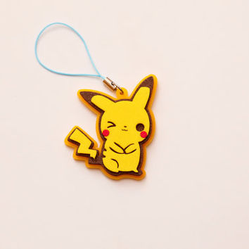 Pikachu phone charm - Pokémon fan art - Laser cut Pikachu cell phone charm
