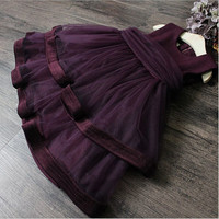 Uv protection cloth stitching multilayer gauze skirt cake vest children 2 to 7 years old girls dress skirt