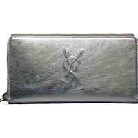 Yves Saint Laurent Wallet YSL Belle du Jour Silver Leather Zip Wallet 352904