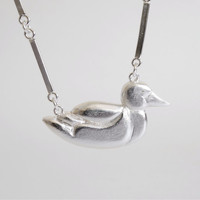 Handmade Silver Duck Necklace / Swimming Duck / Silver Animal Jewelry / Casted Duck