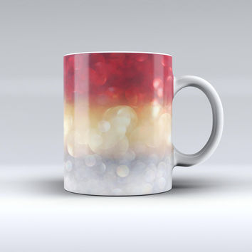 The Red and Gold Unfocused Glowing Orbs ink-Fuzed Ceramic Coffee Mug
