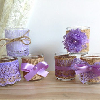 6 burlap and lace covered purple 10 hour tea Votive candles, bridal shower, wedding decoration, gift or for you