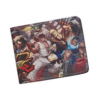 STREET FIGHTER Wallet Cool Short Leather Wallet For Teenager Boy Girl ID Card Holder Money Bag Retro Nintendo Game Wallet Purses
