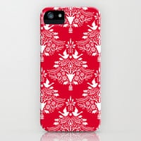 Christmas Paper Cutting Red iPhone & iPod Case by Pattern Plus