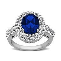 Sterling Silver Blue Lady Di with Swarovski Elements Ring, Size 7