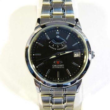 Orient CFD01001B Men's Stainless Steel Black Dial Power Reserve Automatic Watch