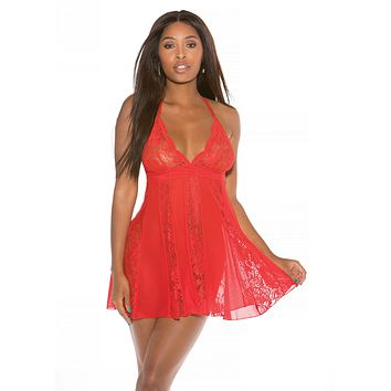 Stretch Lace Red Babydoll Set