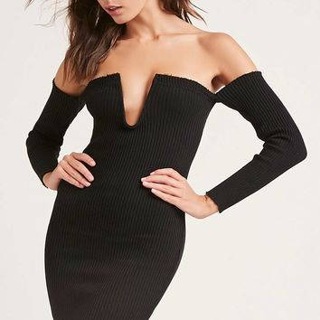 Off-the-Shoulder Ribbed Dress