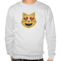 Smiling Cat Face With Heart Shaped Eyes Emoji Pull Over Sweatshirts
