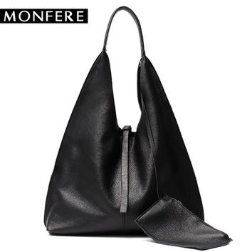 MONFE Genuine Leather Hobo Bags Women Casual Large tote designer shoulder bags High Quality Brand handbag female liner purse set
