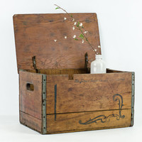 Antique Wooden Beer Crate St. Louis with Canvas Straps