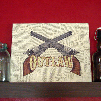 Canvas Wall Sign Outlaw Vintage Guns by Stoic on Etsy
