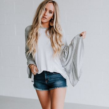 Bell Sleeve Baseball Tee - Gray