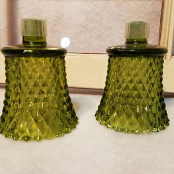 VINTAGE GREEN GLASS DIAMOND CUT VOTIVE CANDLE HOLDER LOT 2 WITH PEG TIPS