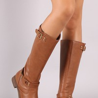 *Textured Leather Buckled Flat Heel Riding Boots