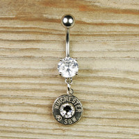 40 Caliber Winchester Nickel Bullet Dangle Belly Button Ring