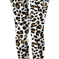 White and brown leopard pattern leggings, custom vector theme,casual girls clothing