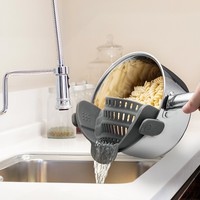 Kitchen Gizmo Snap 'N Strain Strainer, Clip On Silicone Colander, Fits all Pots and Bowls - Grey