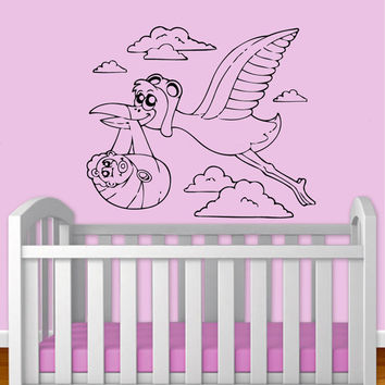 Flying Stork With A Baby Vinyl Decal Wall Sticker Art Design Child Kids Nursery Room Modern Bedroom Nice Picture Home Decor Hall ki57
