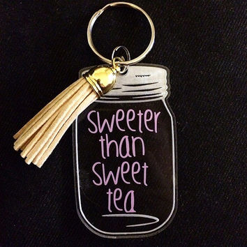 Sweeter Than Sweet Tea Mason Jar Keychain