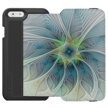 Flourish Fantasy Modern Blue Green Fractal Flower iPhone 6/6s Wallet Case