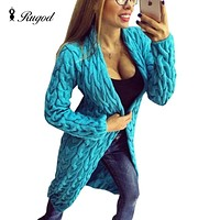 Fashion Women Knitted Sweater Coat Autumn And Winter Long Sleeve Cardigan Jacket Female Casual Outwear Tops pull Femme