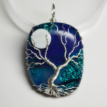 Dichroic Glass Tree of Life Pendant Wire Wrapped Yggdrasil with Moon Blue Fused Glass Celtic Family Tree Necklace Wire Wrapped Glass