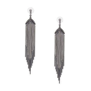 Grey Fringe Drop Earrings