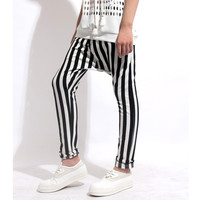 Korean Cotton Stripes Men Pants Skinny Pants [6541347459]