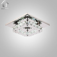 Modern Nature White Crystal LED Flush Mount Light Max 8W Chrome Finish