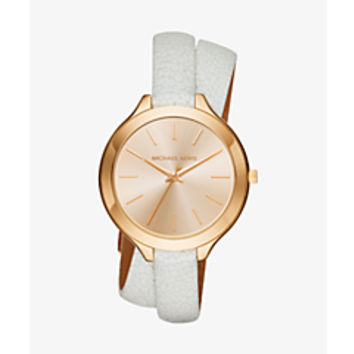 Slim Runway Silver-Tone and Embossed-Leather Wrap Watch | Michael Kors