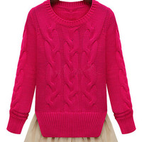 Twisted Pattern Chiffon Pleated Overlay Knitted Sweater