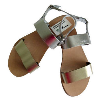 Metallic sandals!Gold and Silver!womens leather sandals Bridal, bridesmaid, weddings!womens Genuine Leather gold sandals silver sandals posh