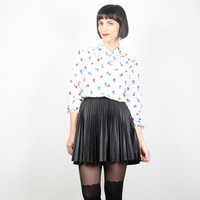 Vintage Secretary Blouse Black White Red Blue Shirt Floral Print Top 1980s 80s Ascot Pussy Bow Tie Neck Long Sleeve Work M Medium L Large