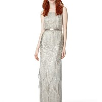 Sleeveless beaded gown with fringe