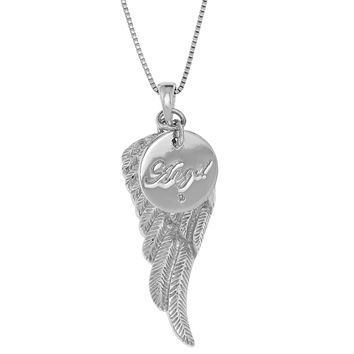 ".005 cttw Diamond Sterling Silver Angel Wing Pendant on an 18"" Box Chain"