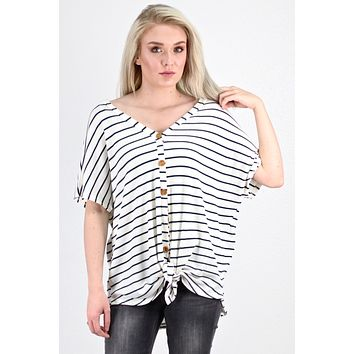 Oversized Striped Button & Tie Front S/S Thermal {Off White/Hunter Green}