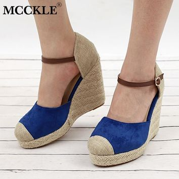 MCCKLE High Heels For Women Wedges Sandals Platform Woman Buckle Strap Shoes Fashion Suede Party Wedding Gladiator Shoe