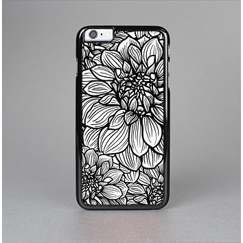 The White and Black Flower Illustration Skin-Sert Case for the Apple iPhone 6