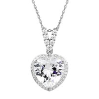 Heart Shape Crystal Sterling Silver Love Pendant Valentine's