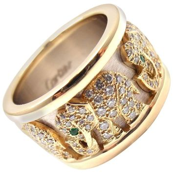 Cartier Emerald Diamond Yellow Gold Elephant Band Ring