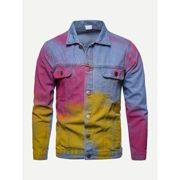 Men Colorful Denim Jacket