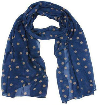 2016 New Stylish Girl Long Soft Silk Chiffon Scarf Wrap Polka Dot Shawl Scarves For Women Hot Sale Navy Green Hottest