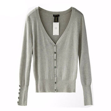 HOT!!American Apparel Brand Quality Shell button KNIT TOP Womens Loose Knitting Cardigan Knitting Shirt Shawl Shrugs