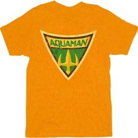 Aquaman Shield from Batman: The Brave And the Bold Orange Adult T-shirt  - Shirts Sheldon Has Worn - | TV Store Online