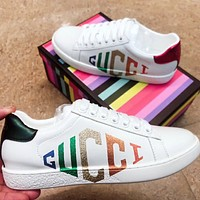 GUCCI Fashion New Shining Multicolor Letter Print Women Men Shoes White