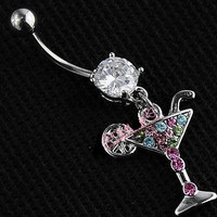 Goblet Rhinestone Dangle Belly Button Navel Rings Body Piercing Jewelry
