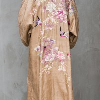 Antique Taupe Silk Floral Embroidered Robe - M